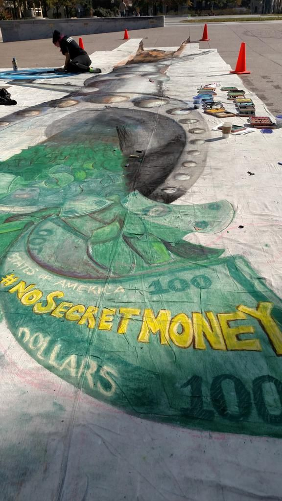 #NoSecretMoney mural coming to life! @POTUS must act to expose secret money. Art by @chalkriot @greenpeaceusa