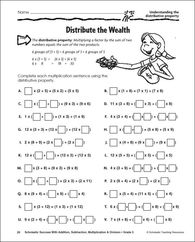 Printables Math Worksheets Distributive Property printables distributive property worksheets 5th grade pinterest katalog