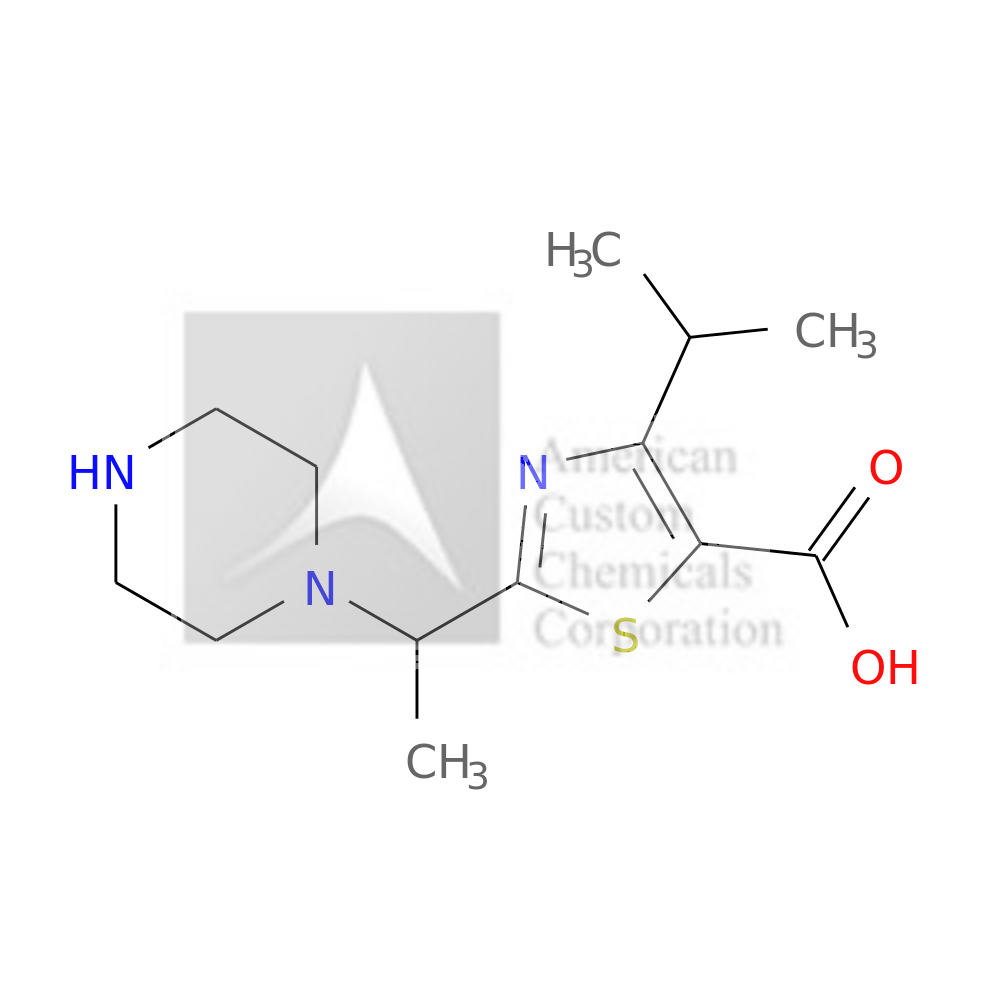 2-[1-(PIPERAZIN-1-YL)ETHYL]-4-(PROPAN-2-YL)-1,3-THIAZOLE-5-CARBOXYLIC ACID is now  available at ACC Corporation