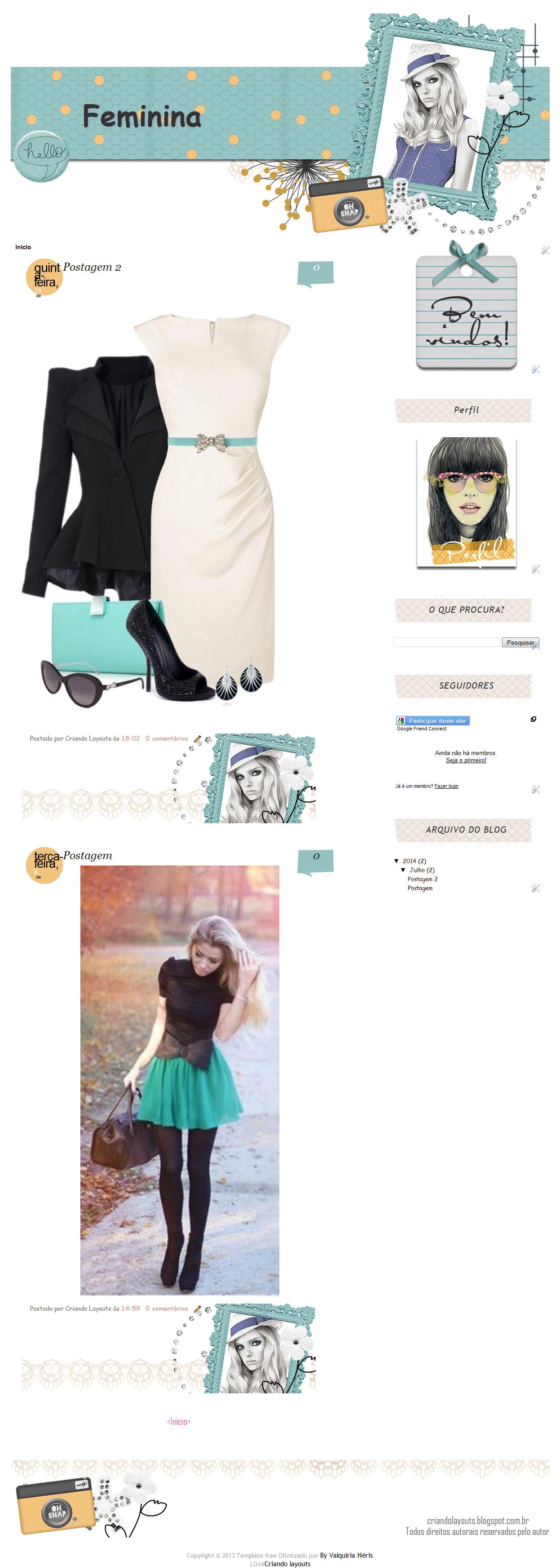 Template free feminino para blog | Template free para blog | Pinterest