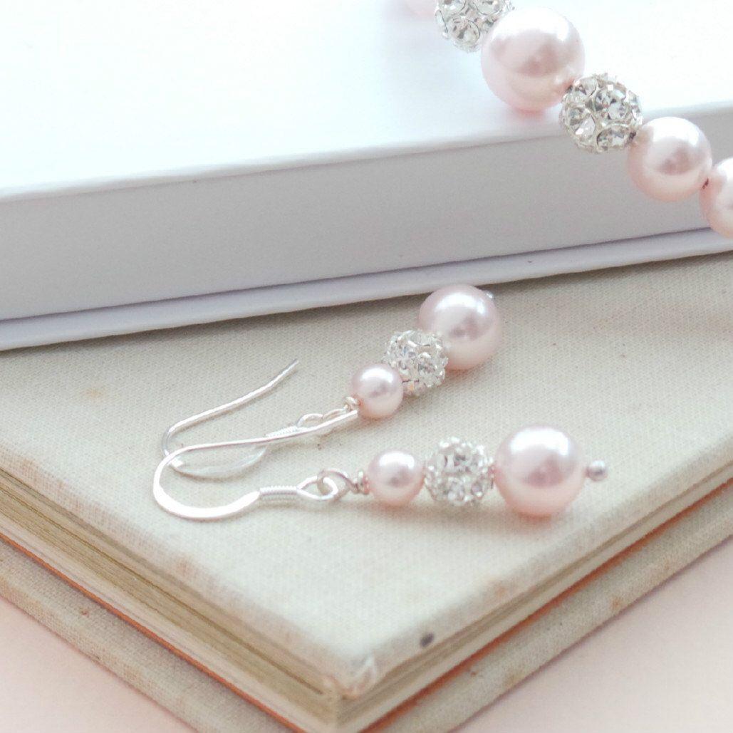 Ella Blush Pink Pearl Drop Earrings Wedding Jewellery Baby Dangle Valentines Gift Earings Bridesmaids Etsy Uk