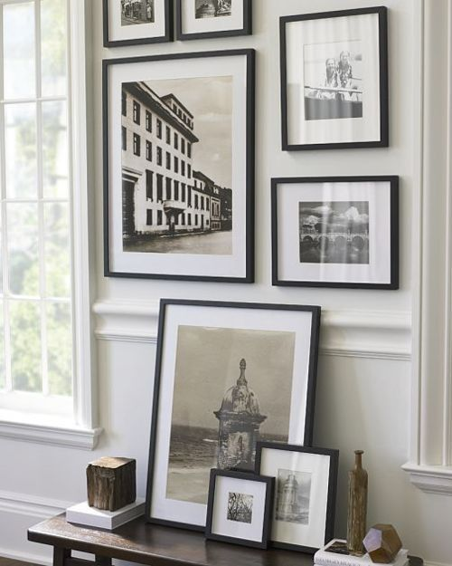 f972bef07690 Black frames and white mats for a more subtle display. Use mixed frame  styles ...