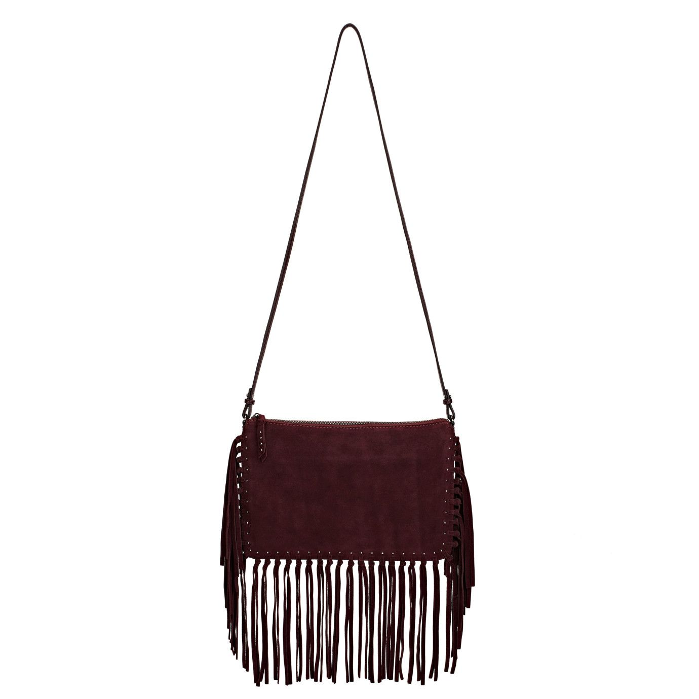 Fringe Crossbody Bordeaux