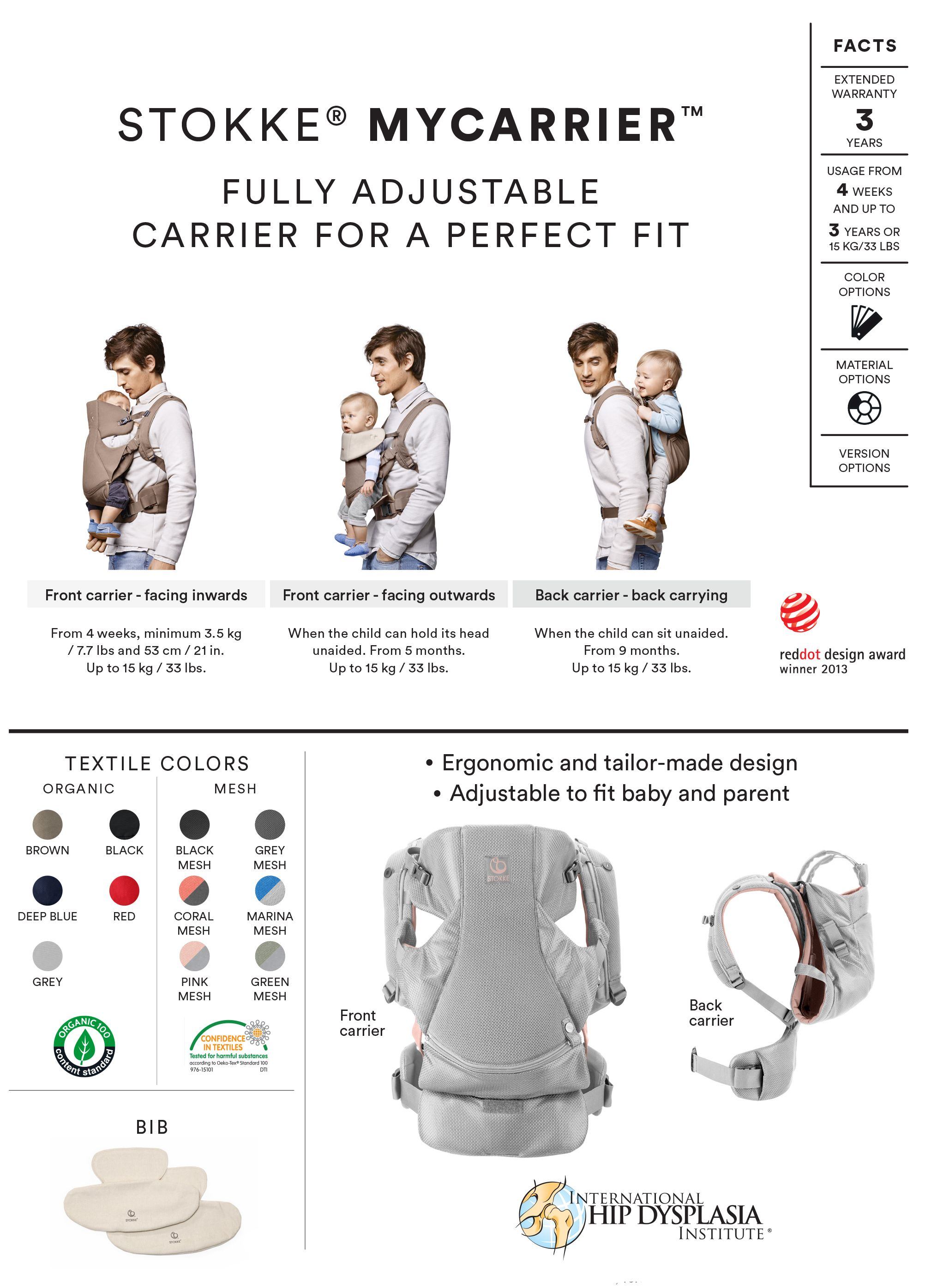 53a1c6a39cb The Stokke MyCarrier baby carrier has been created so that your baby is  ergonomically and correctly seated in all positions to ensure healthy  development.