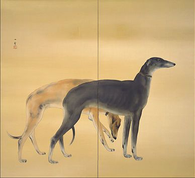 Greyhounds from 'Dogs From Europe' 1941 by Hashimoto Kansetsu (1883 - 1945).One of a pair of two paneled screens(colour on silk). Adachi Museum of Art