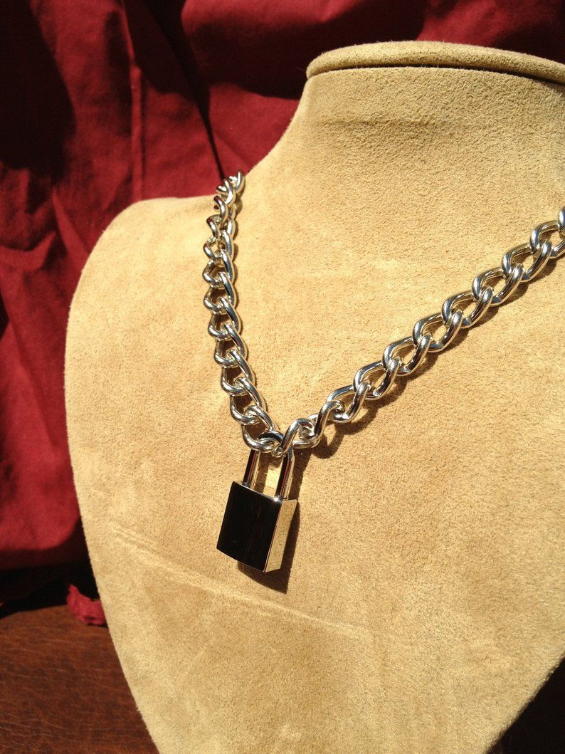 Chain choker with small square padlock etsy in 2020