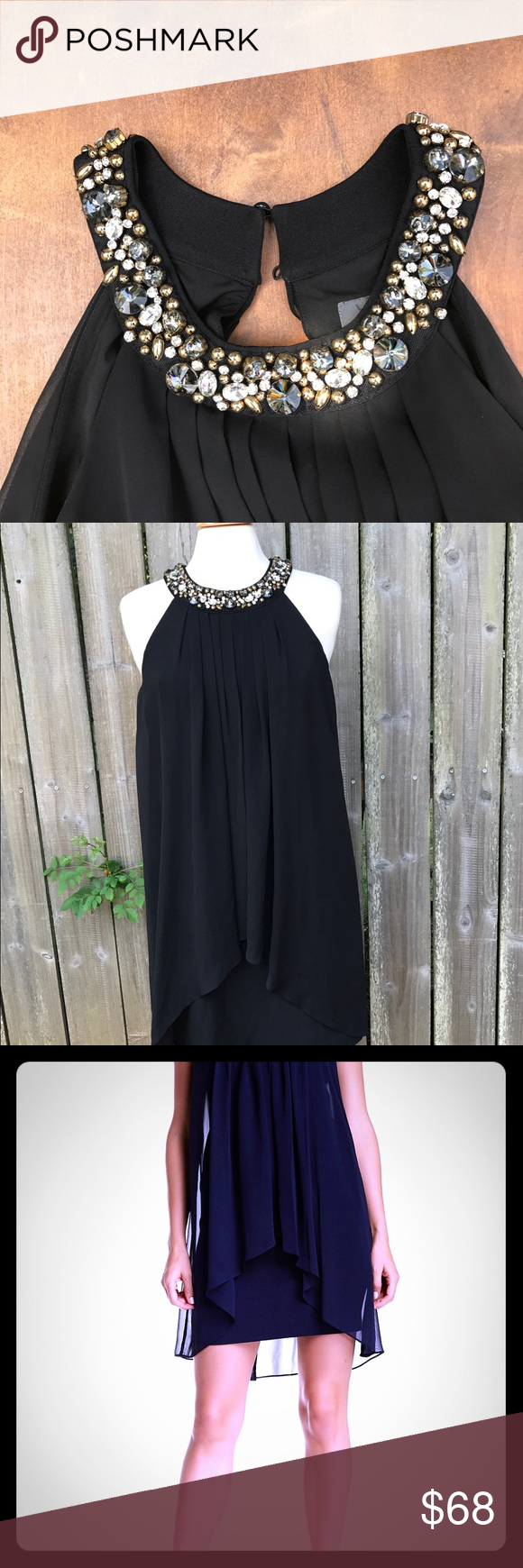 Vince Camuto Black Jeweled Trapeze Dress Lbd Sz 8 Trapeze Dress Dresses Little Black Dress [ 1740 x 580 Pixel ]