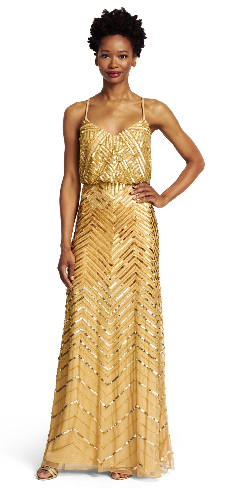 Chevron beaded blouson gown gowns gold bridesmaids and weddings