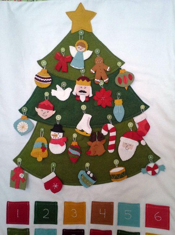 Felt Ornament Advent Calendar by Raindrops Tops - traditional