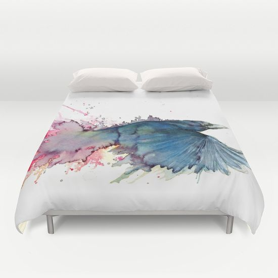 Flying Crow Duvet Cover by Ruth Oosterman - $99.00