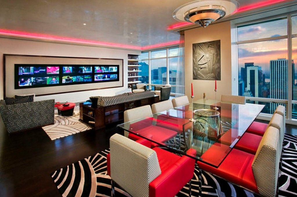 Fabric And Leather Furniture Colorful Furnishings Also Neon Lighting Around The Top Of The Room Decoration Ideas: Vivid Color Decoration For Your Interior Design Ideas