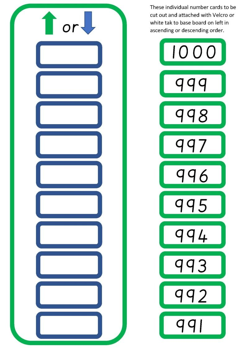 Up Or Down Number To 1000 Number Cards Math For Kids Math Resources [ 1131 x 800 Pixel ]