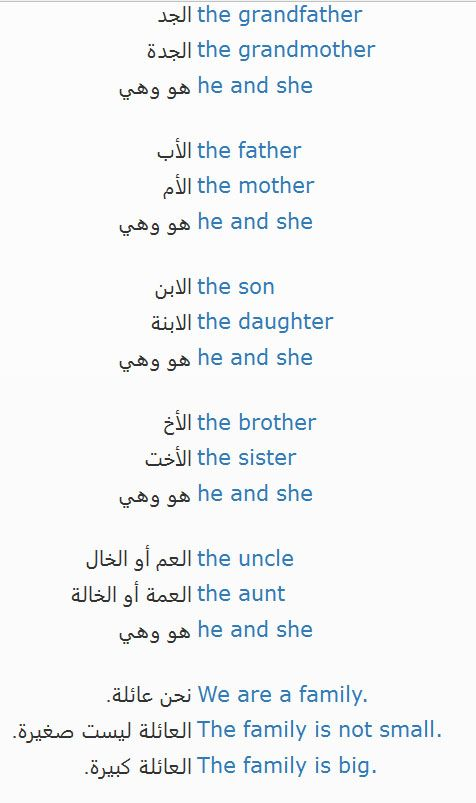 الدرس الثانى العائلة Lesson 2 Family More Lessons And Tips Https Learn English Learn Arabic Language English Language Learning Grammar Learn English Words