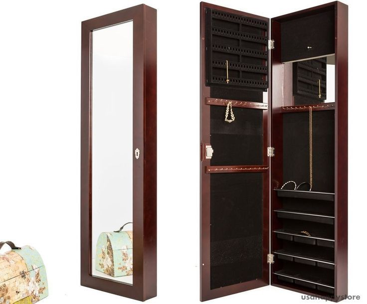 Wall Mount Jewelry Armoire Mirror Locking Cabinet Box Organizer