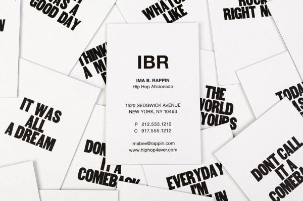 Business cards printed with motivational phrases inspired by rap business cards printed with motivational phrases inspired by rap songs designtaxi colourmoves Images