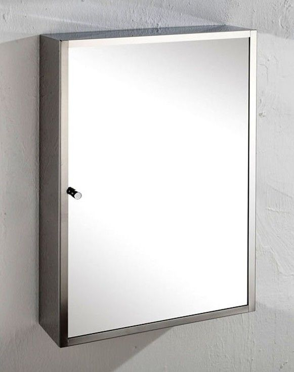 Monaco Single Door 35cm Wide By 50cm Tall Mirror Bathroom Wall Cabinet With Internal Shelves