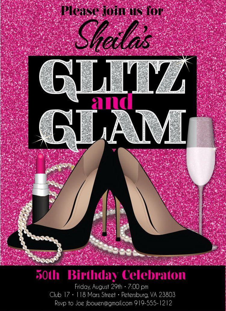 glitz and glam - | 50th Invites | Pinterest | 40 birthday ...