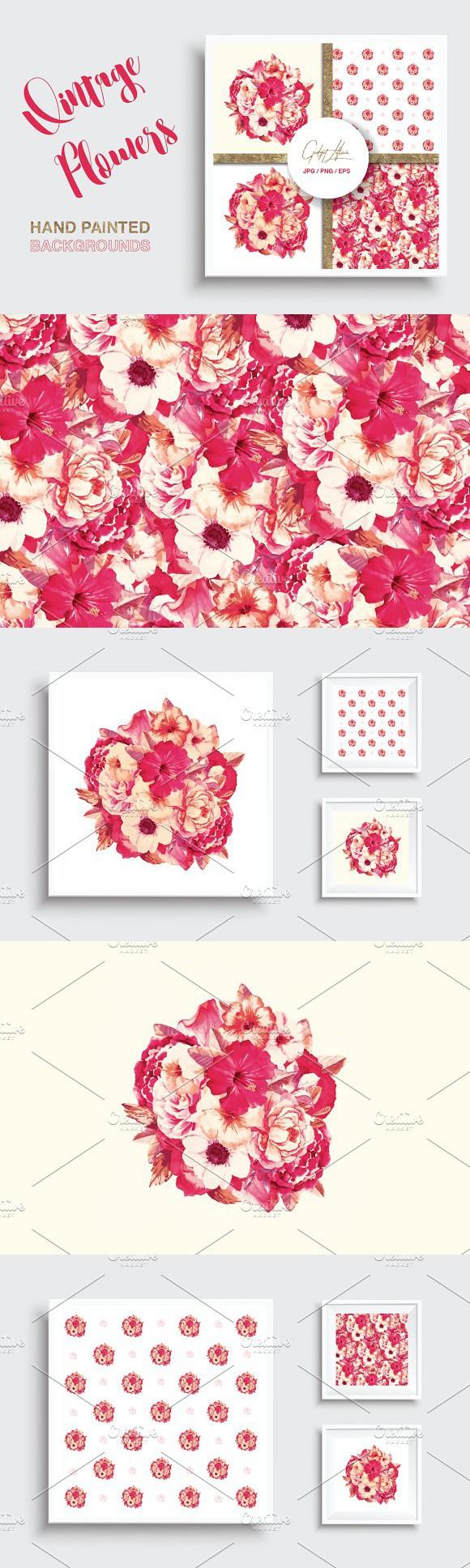 Floral background set illustrations illustrations pinterest