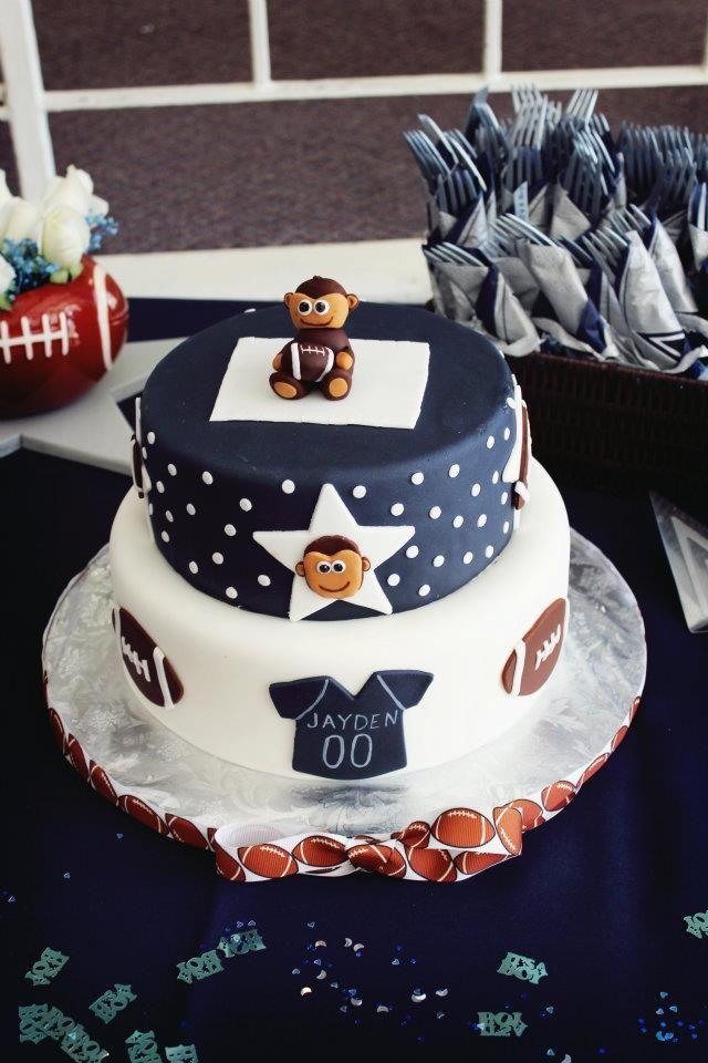 Jaydens Baby shower cake dallas cowboys and monkeys Jayden