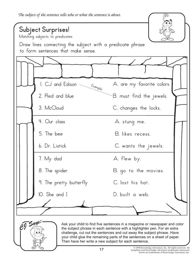 Subject Surprises English Worksheet On Subject And Predicate Subject And Predicate Subject And Predicate Worksheets Complete Subject And Predicate Subjects and verbs worksheets