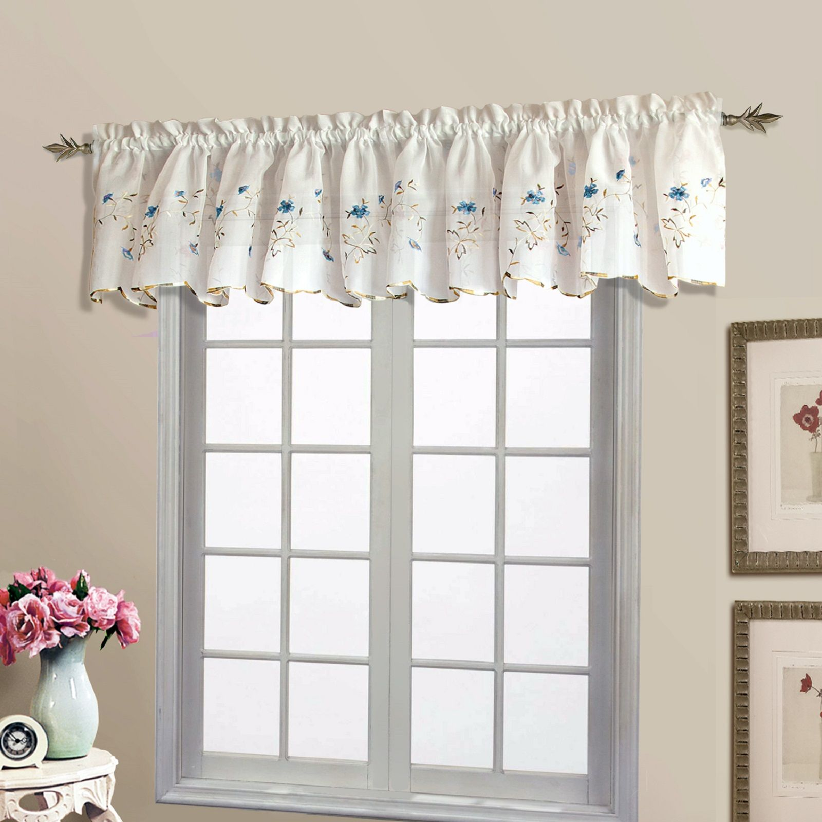 United Curtain Company Loretta 52 X18 Embroidered Scalloped Valance White White Violet White Blue Natural Chocolate Valance Curtains Valance Home Decor