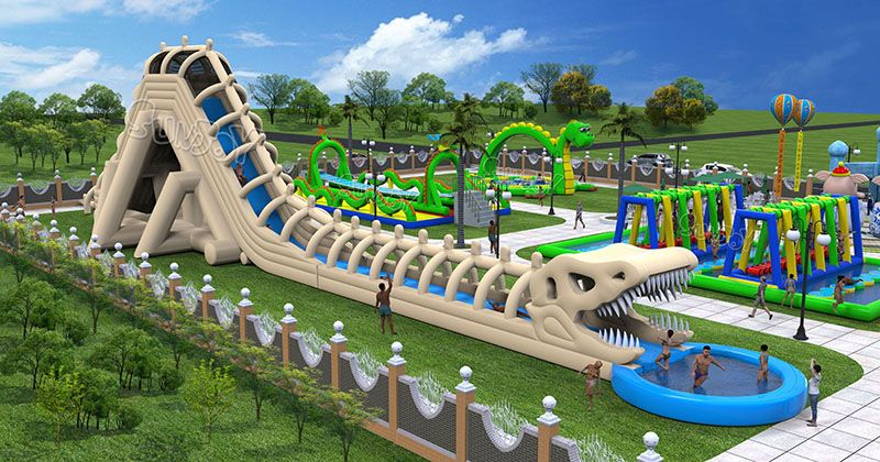 Giant Dinosaur Skeleton Inflatable Water Slide With Splash Pool New Design For Kids And Adults A Cool Water Slides Water Slides Backyard Inflatable Water Park