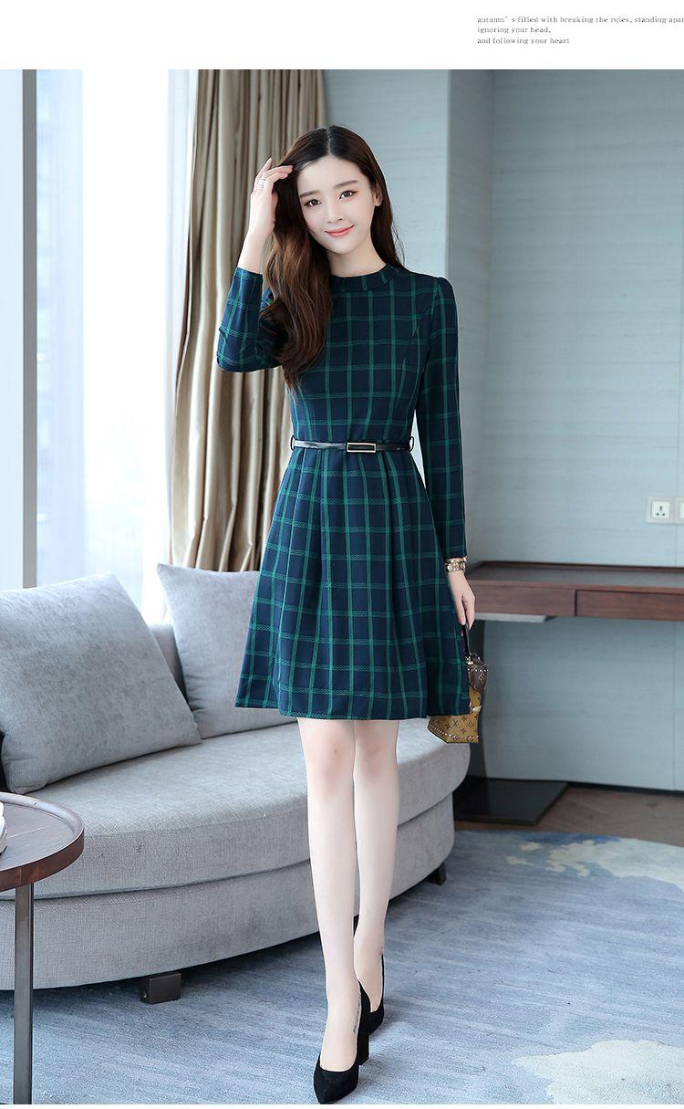 Korean Elegant Plaid Long Sleeved Green Midi Dress Outfit Cool