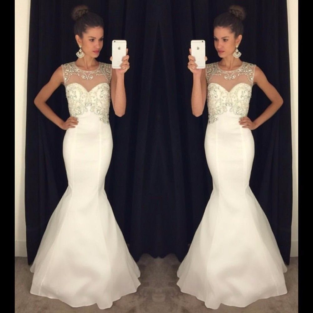 Sexy white mermaid prom dresse with crystals backless sweep train