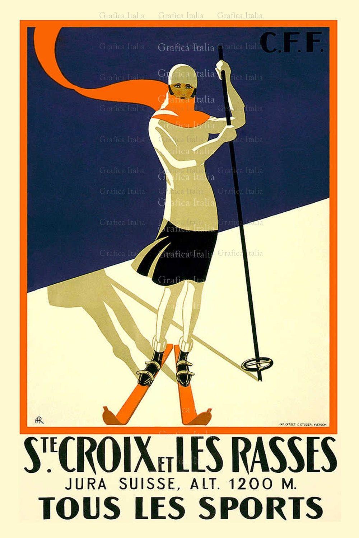 SKI Girl, Vintage Skiing TRAVEL Poster, Printable Digital Download ...