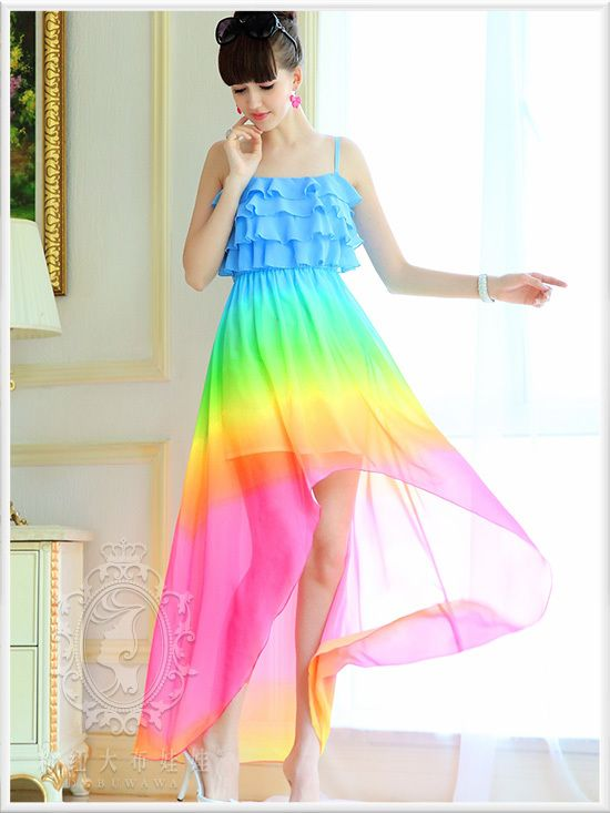 Gratis verzending Dabuwawa Brand New Authentic Women Summer 2014 Fashion Sky Blue Gradient Onregelmatige chiffon jurk Roze Doll