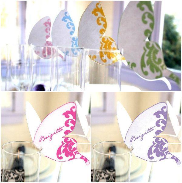 DIY Hochzeit Tischkarten Schmetterling pink lila Namenschilder ...