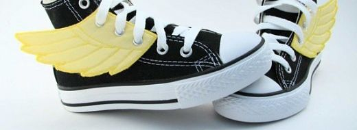 Superhero Shoes with yellow wings by Etsy seller smallfly