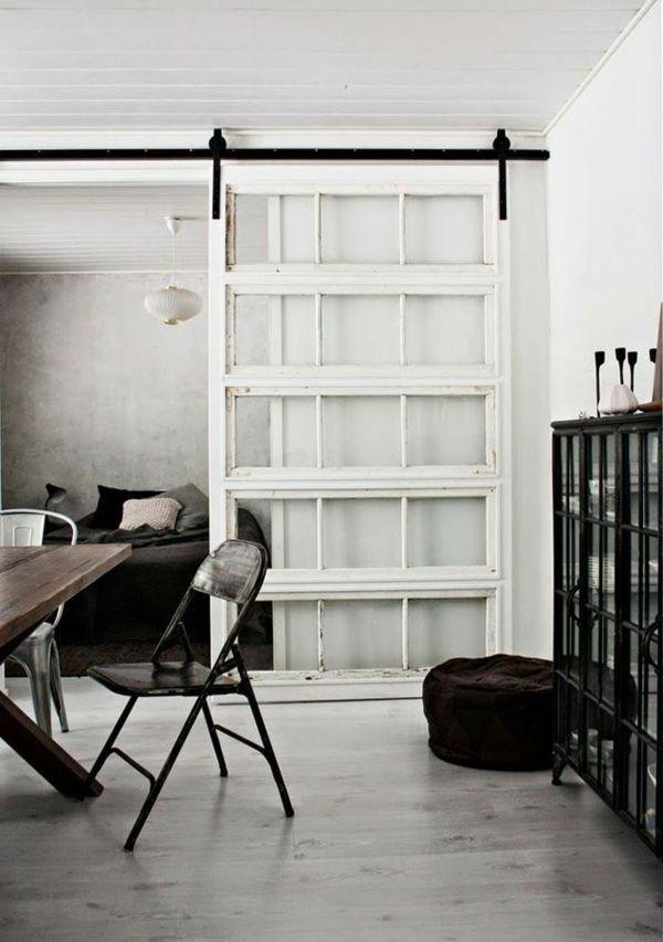Schiebetüren weiß rahmen glas Raumteiler polstermöbel sitzen - wohnzimmer mit glaswnde