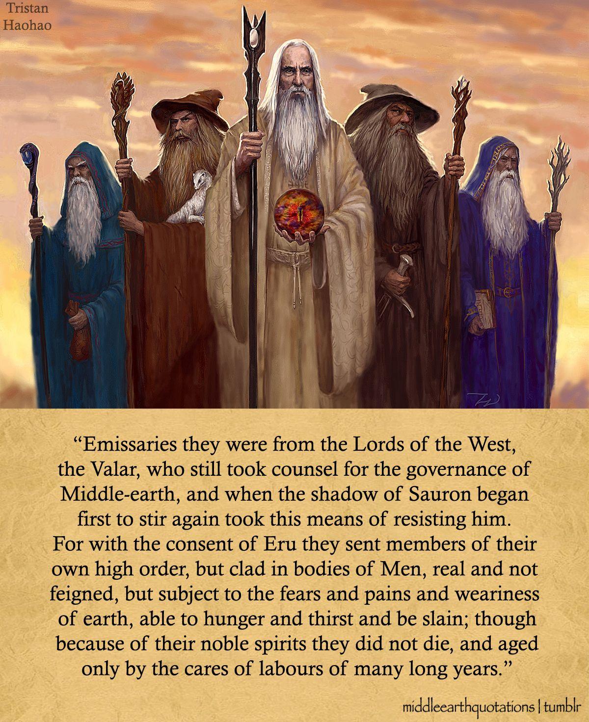 The Istari: Curumo (Saruman the White), Olórin (Gandalf the Grey), Aiwendil (Radagast the Brown), Alatar and Pallando (The Blue Wizards)