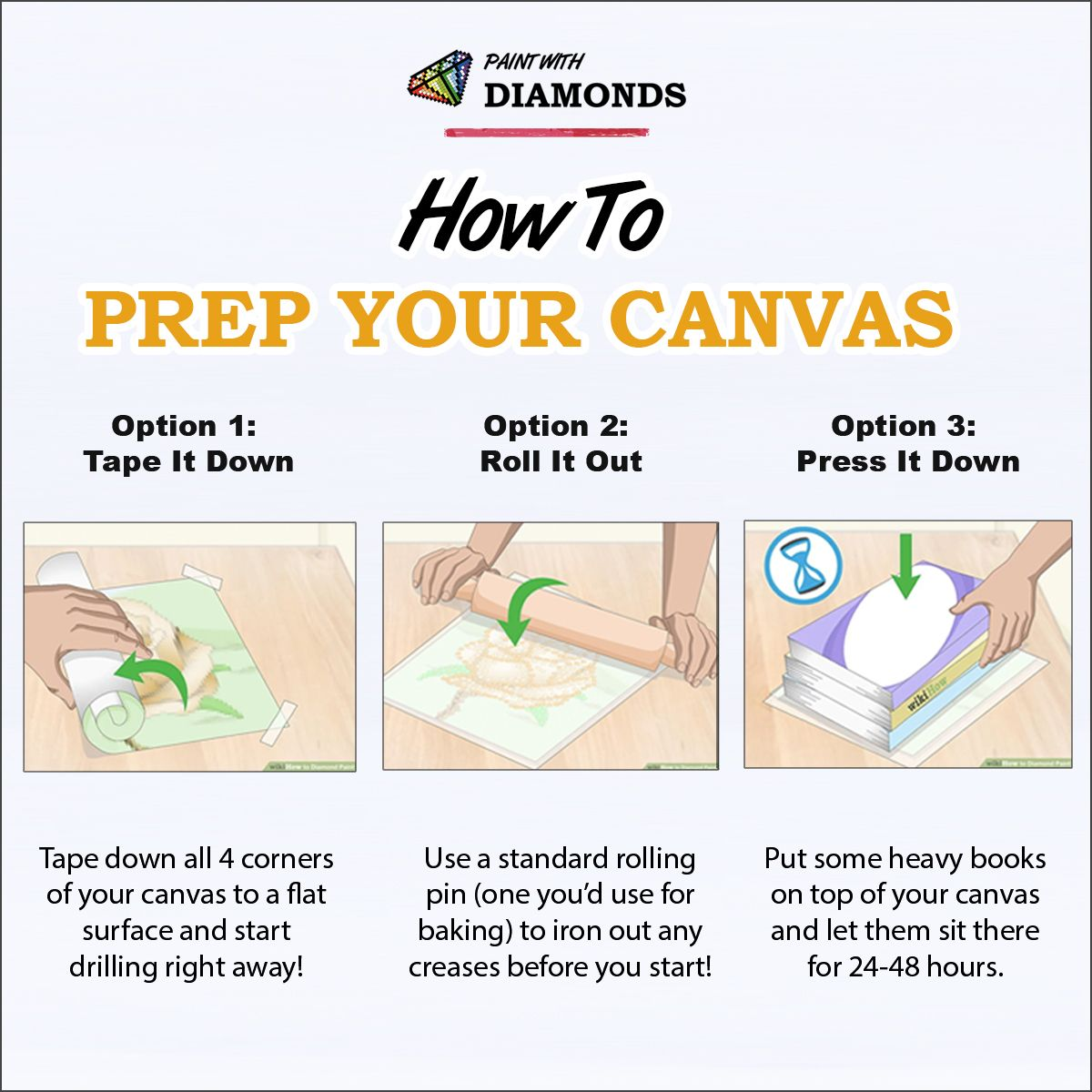 dfc2e0ff04 How To Prep Your Diamond Painting Canvas Did your Paint With Diamonds  canvas arrive in the mail with some creases in the package? Worry not!