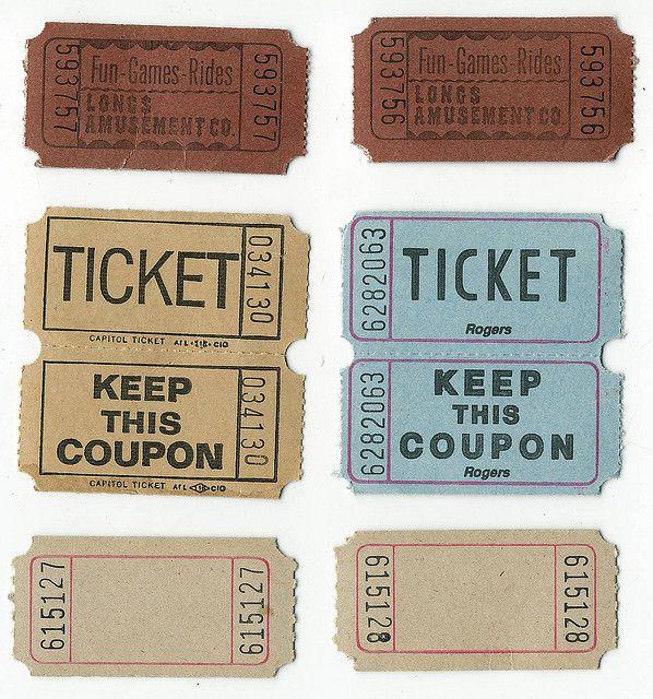 All sizes Amusement - Tickets - Blank Ticket aged vintage ephemera