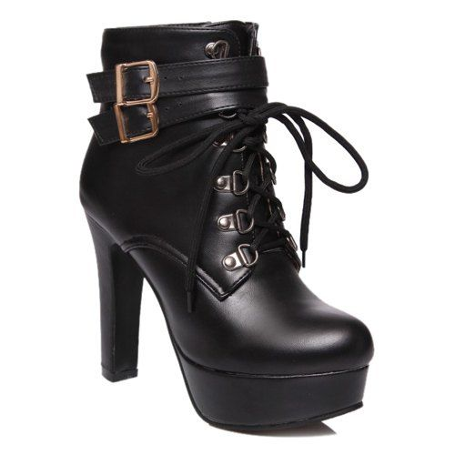 Stylish Tie Up and Double Buckle Design Short Boots For Women