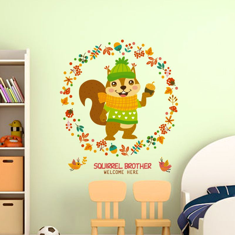 SHIJUEHEZI] Squirrel Wall Stickers PVC Material Animal Mural Art for ...