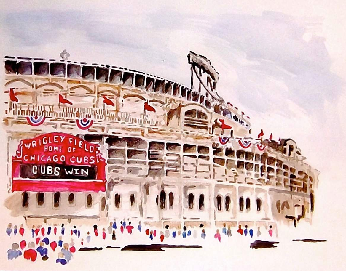 Original Watercolor Painting Of Wrigley Field In Chicago Home Of