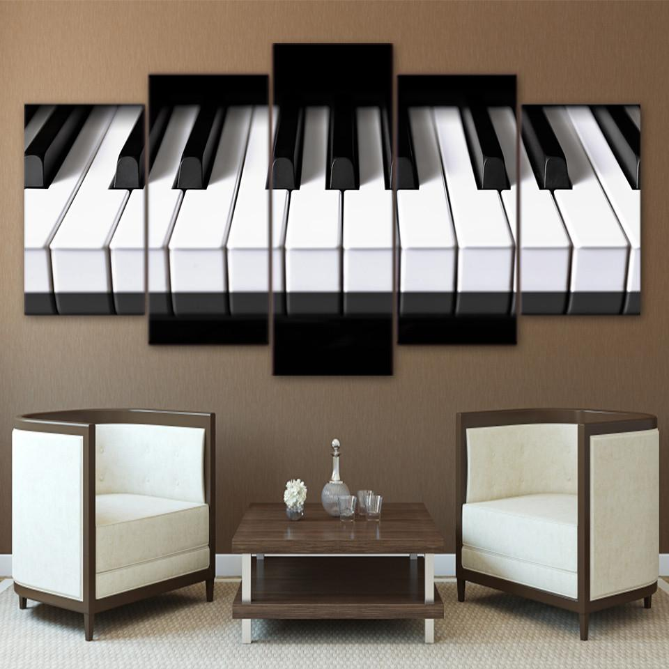 Piano Keys Melody Life Hq 5 Piece Art Canvas Piano Musicalinstrument Hobbies Canvas Canvaspaintings Drawi Piano Decor Music Decor Living Room Pictures