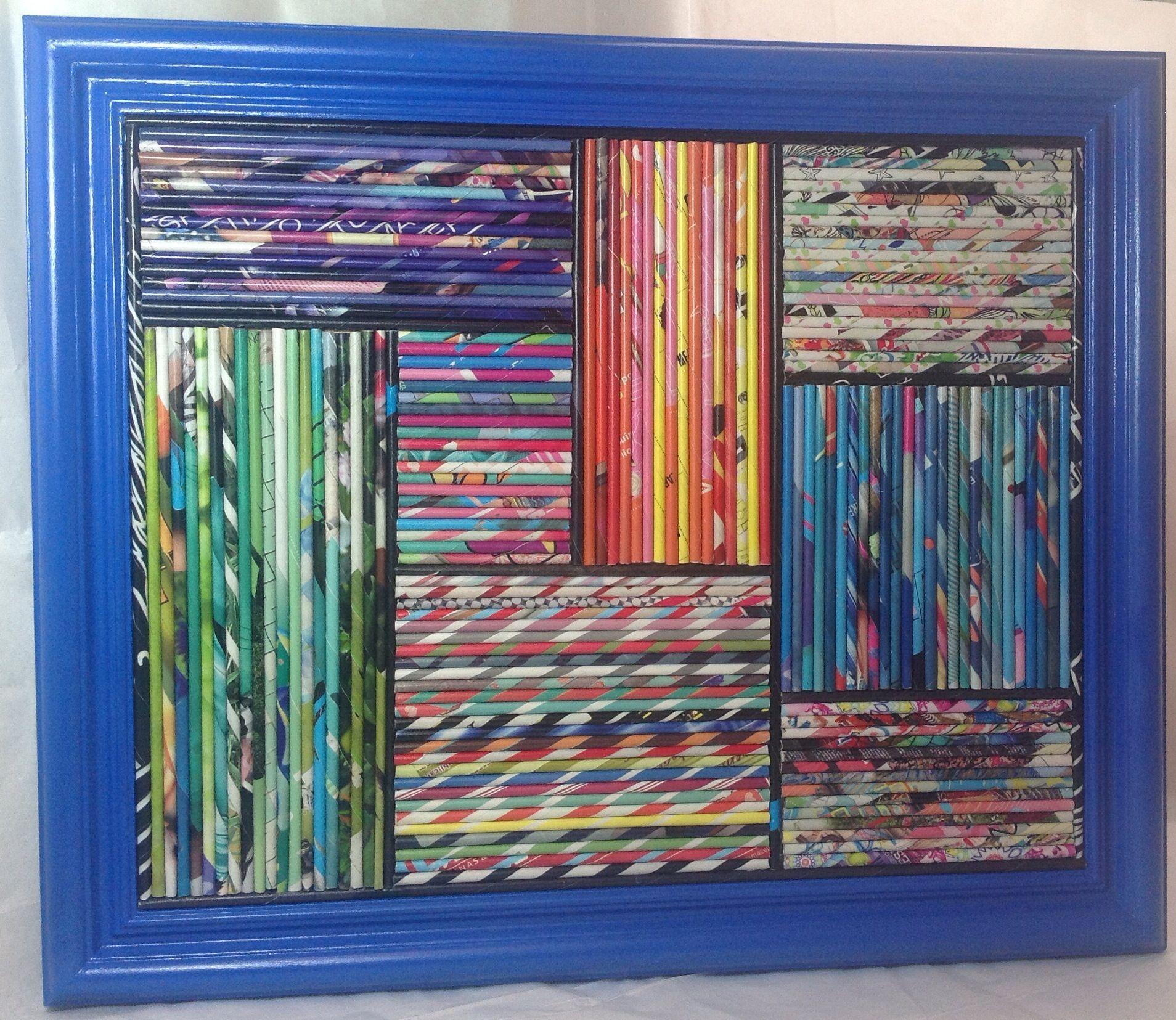 Cuadro hecho con rollitos de papel de revistas marco azul - Marcos para cuadros ...