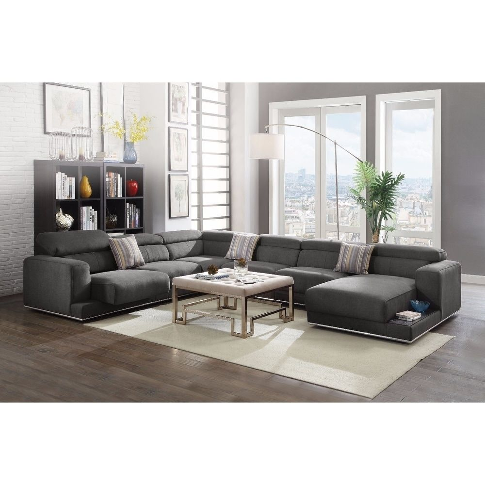 gray fabric sectional sofa. Alwin Dark Grey Fabric Sectional Sofa | Overstock.com Shopping - The Best Deals On Sofas \u0026 Loveseats Gray W