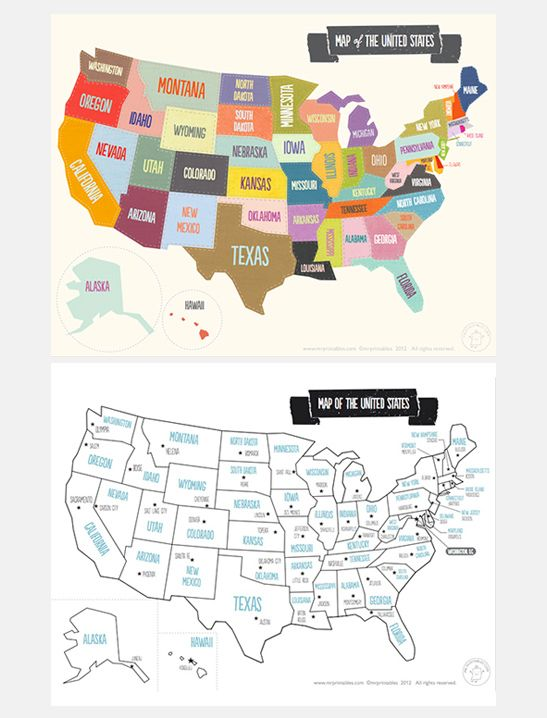 Printable Map of The USA - Mr Printables | DIY Kid Ideas | Pinterest ...