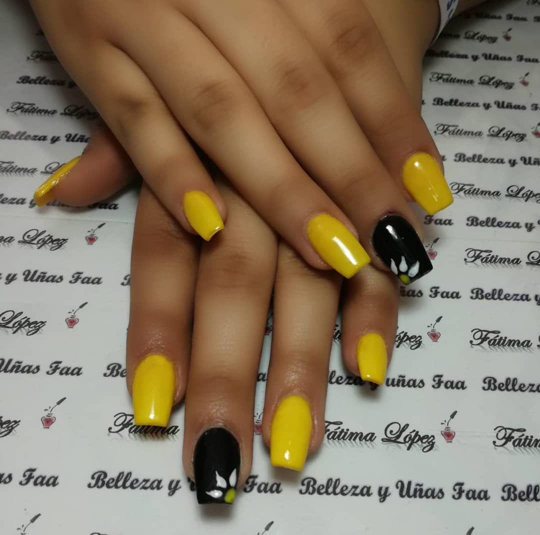 Yellow Nails Coffin Black Nailart Spring Yellow Nails Coffin Black Nailart Spring Nails Sunflower Nails New Nail Colors