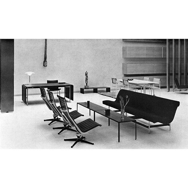 1960, Intermöbel showroom, Cologne.  by #WernerBlaser. #Eames #HermanMiller #GeorgeNelson #HansWegner #KatavolosLittellKelley #Laverne #LouisPoulsen #PoulHenningsen