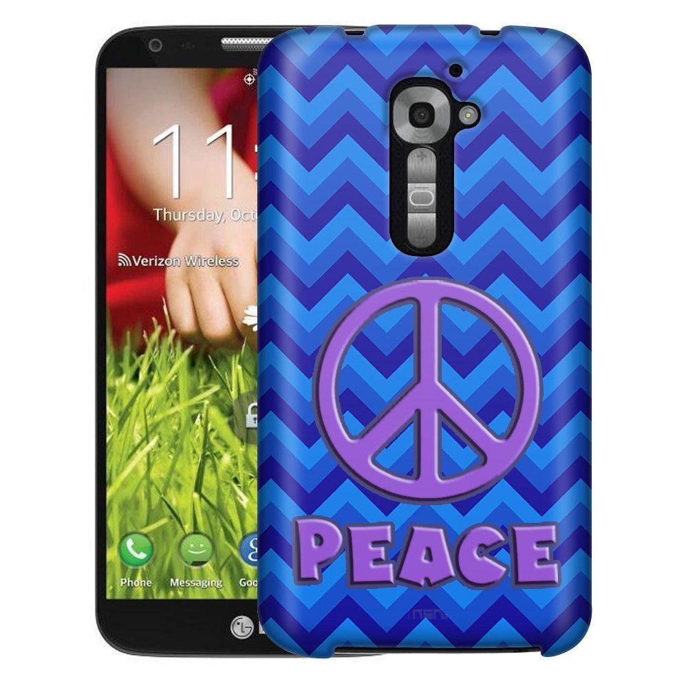 LG Verizon G2 Peace on Chevron Zig Zag 2 Tone Blue Slim Case