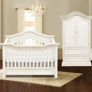 Baby Leseed Millbury 2 Piece Nursery Set Convertible Crib And Armoire In Colonial White Free Shipping