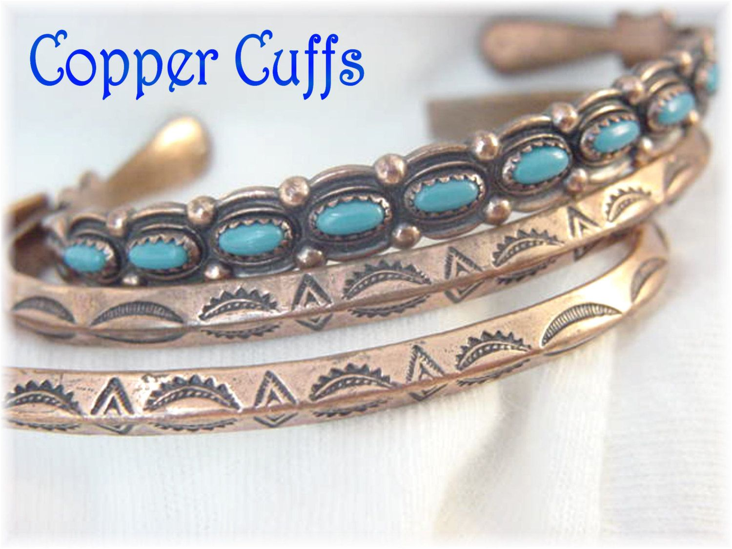 Bell Copper Cuff Native American Bracelet Set - Sleeping Beauty Turquoise - Western Navajo Concho Designs - Arizona Estate FREE SHIPPING