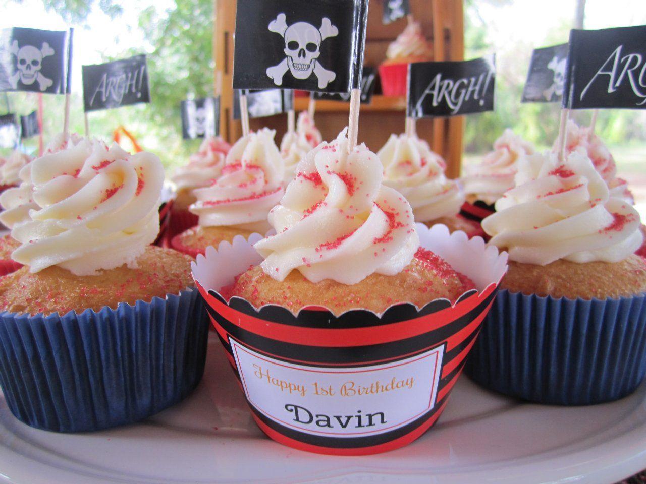 Pirate Birthday Party Cupcakes #Shindigz