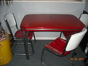 Vintage Red Chrome Metal Table Chair Dinning Kitchen Arvin Industries 1940 S Metal Table Furniture Fix Vintage Kitchen